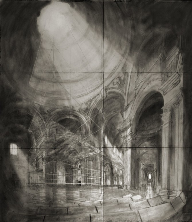 St Paul's Distortion - Charcoal, graphite, 110x124cm