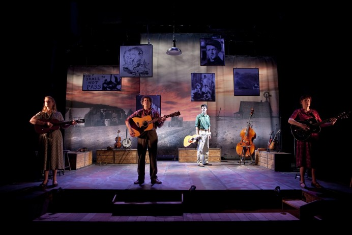 The Cast of Woody Sez, The Words, Music and Spirit of Woody Guthrie, featuring David M. Lutken, Andy Teirstein, Darcie Deaville, Helen J Russell. Photographed by Tom Oldham 18/1/11